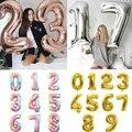 Большой Размеры золотого и серебряного цвета розового золота шара с цифрой на день рождения Свадебная вечеринка украшения из фольги воздуш...