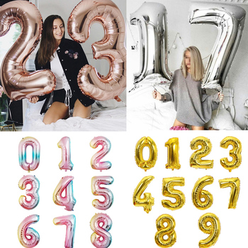 Big Size Gold Sliver Rose Gold Number Balloon Birthday Wedding Party Decorations Foil Balloons Kid Boy toy Baby Shower image