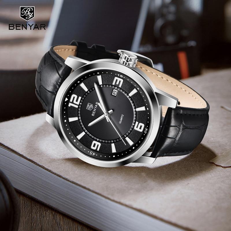 BENYAR Лидирующий бренд Роскошные мужские часы водонепроницаемые кварцевые часы мужские модные повседневные спортивные часы мужские военные часы relogio masculino|Кварцевые часы|   | АлиЭкспресс
