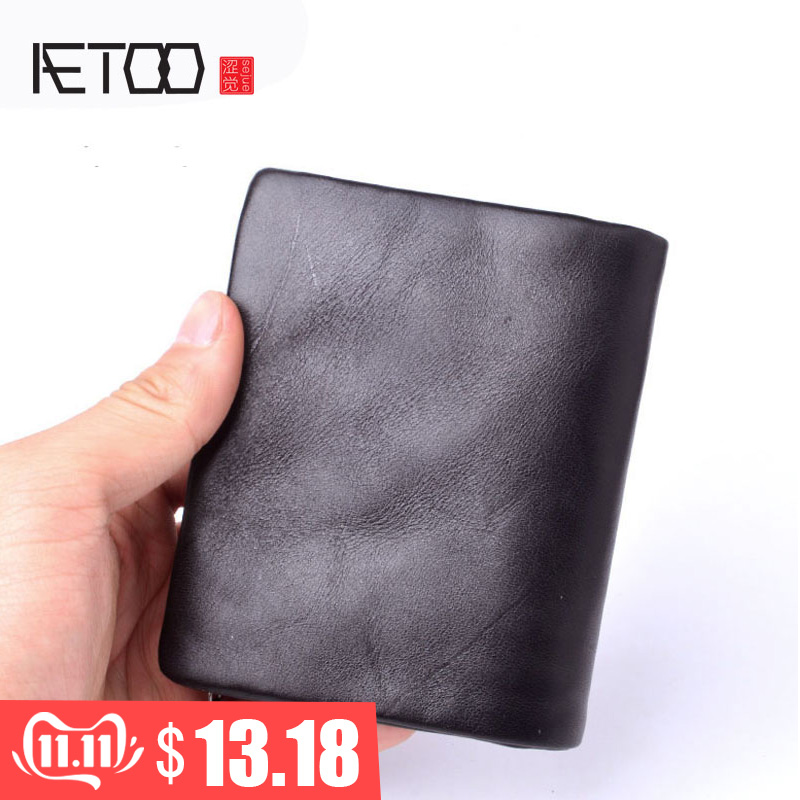 AETOO Original Handmade Wallet Men Retro Short Wallet First Layer Of Leather Zipper Wallet Men Vintage Wallets Black