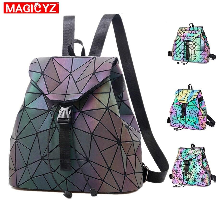 Magicyz mulheres laser luminoso mochila geométrica bolsa de ombro dobrável estudante sacos de escola para adolescente holográfica sac a dos