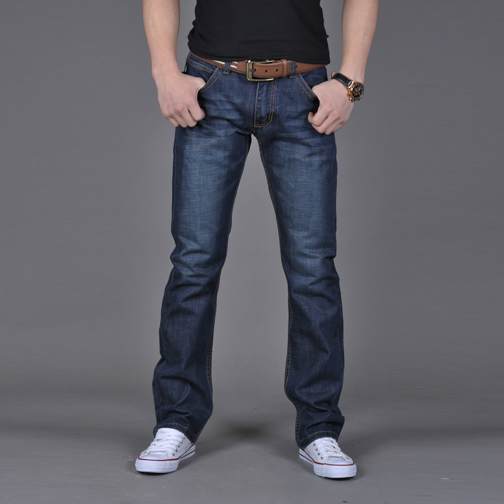 Long Jeans Navy-Blue Classic-Style Male Casual Men's Straight New-Fashion Solid A1126 title=