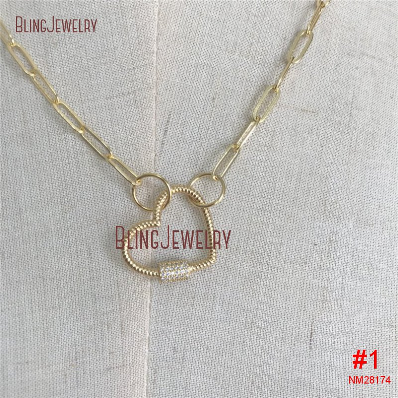 Золотое ожерелье-чокер, золотое ожерелье с овальной застежкой в форме сердца, CZ ожерелье с винтовой застежкой NM28172 - Окраска металла: NM28174