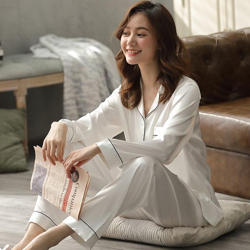 Silk Satin Couple Pajamas Summer Pijama Hombre Mens PJs Set 2Pieces Solid Sleepwear Sleep&Lounge Long Sleeve Leisure Wear Pajama