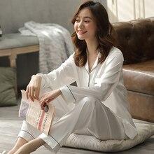 Silk Satin Couple Pajamas Summer Pijama Hombre Mens PJs Set 2Pieces Solid Sleepw
