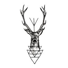 New 10.5*6cm Elk Deer Head Tattoo Bucks Horn Antlers Water Transfer Fake Tattoo Flash Tattoo Waterproof Temporary Tattoo Sticker(China)