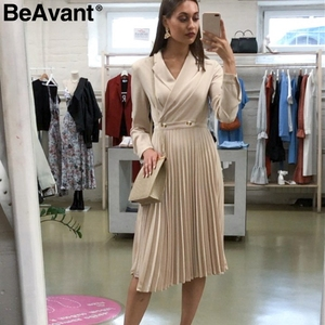 Image 5 - Женское длинное платье с отложным воротником BeAvant, элегантное однотонное Плиссированное офисное платье с длинным рукавом, шикарные вечерние платья на осень