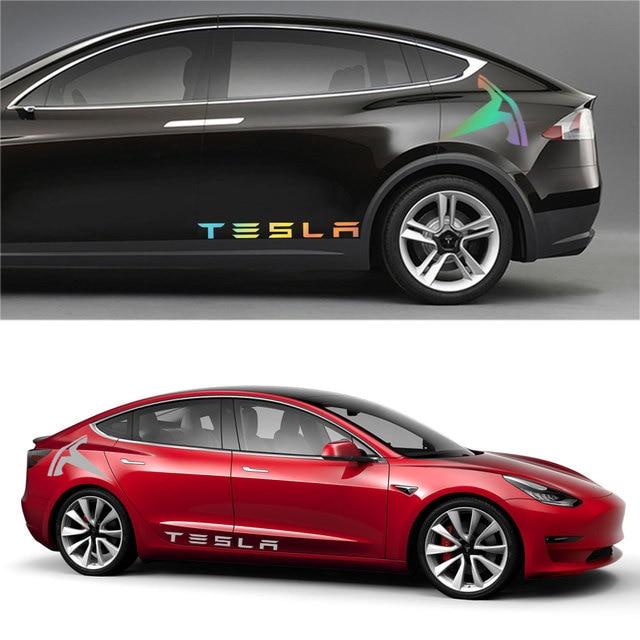 1Pair Car Styling Rear Door Stickers Decals Body Side Logo Stripe Trim Sticker Exterior Decor for Tesla Model 3 X S Accessories 5