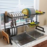 Black Stainless Steel Kitchen Rack Beside Sink Bowl Rack Dish Dryer Dishware Supplies Storage Shelf Kitchen Bowl Organizer