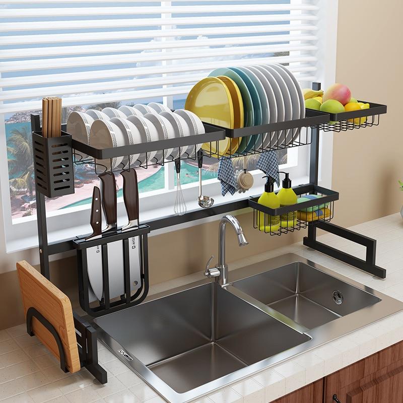 Support de cuisine en acier inoxydable noir à côté de l'évier bol support plat sèche-vaisselle fournitures étagère de rangement cuisine bol organisateur