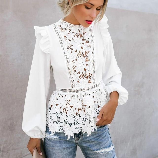 Women Elegant Long Sleeve Lace White Blouses Tops Summer Fall Retro Blouse Shirts harajuku 1
