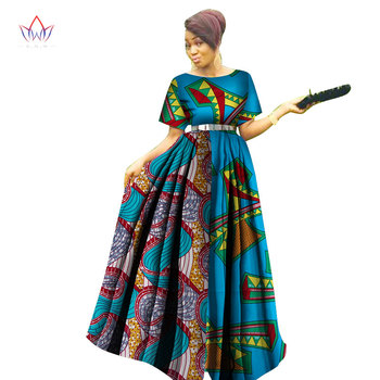 Fashion Women Patchwork Ankara Long Tutu Dresses Bazin Riche African Print Dresses for Women African Style Clothing WY3122