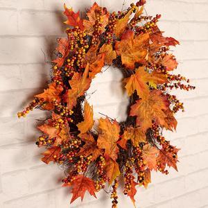 Image 2 - Navidad Acción de Gracias otoño Color guirnalda ventana restaurante hogar hoja de arce decoración adornos vacaciones colgante corona