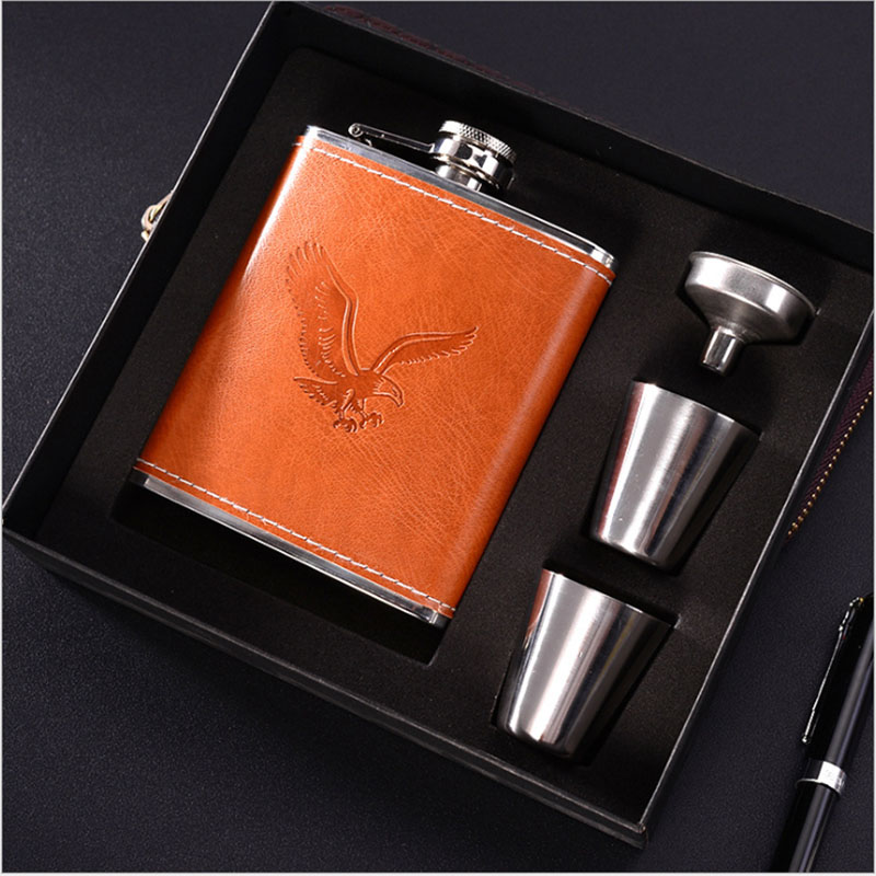 Hip Flasks Set 7oz Funnel and Wine Cups Luxury Stainless Steel Alcohol Whiskey Bottle Leather Flagon Wine Gift Flask Set For Man|Hip Flasks|   - AliExpress