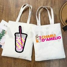 Charli DAmelio Ice Coffee Splatter Graphic Girls Fashion Casual Pacakge Hand Bag Hipster Cartoon Print Shopping Bags