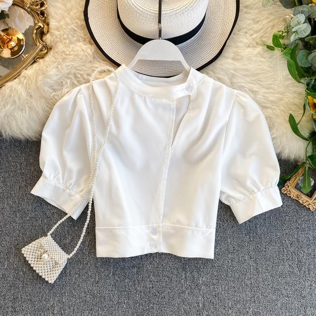Women's Hollow Short Puff Sleeve Short Crop Tops Lady Round Neck Sexy Shirt  Camisas Mujer  Blusas Mujer De Moda Blouse K693 1
