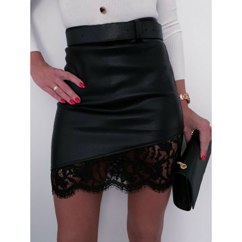 Women A-Line Short Skirt High Waist PU Leather Floral Zipper Mini Pencil Skirts