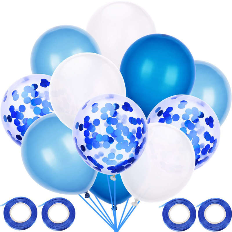 60pcs 12inch Latex Balloons Set Blue White Confetti With 4 Roll Silk Ribbon For Baby Shower Birthday Wedding Party Decoration