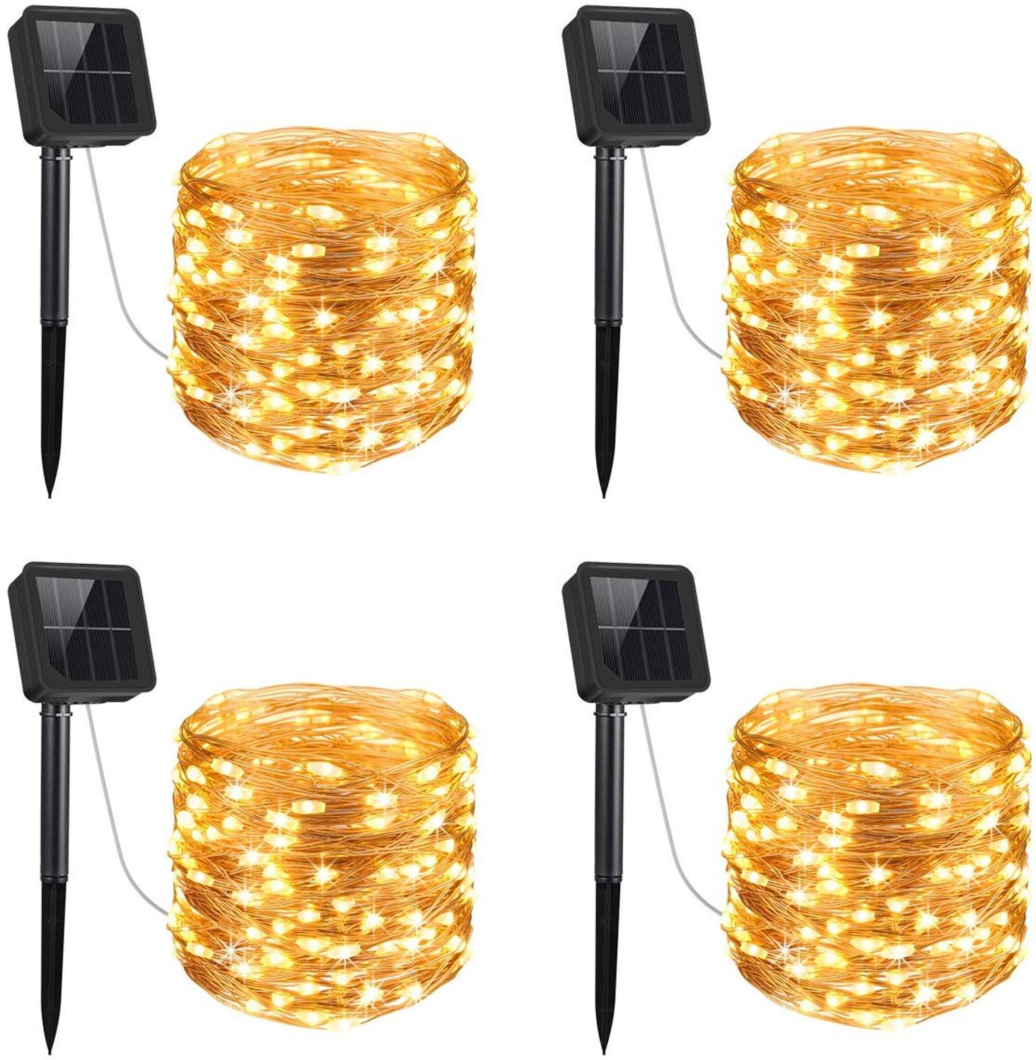 Solar String Lights, 4 Pack 16 Feet 50 LED Outdoor String Lights, Waterproof Solar Decoration Lights For Gardens, Patios, Homes,
