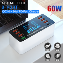 60W 8 Ports USB Phone Charger QC3.0 PD Type C USB C Fast Charger Quick Charge 3.0 Smart LED Display Charging Station Adapter
