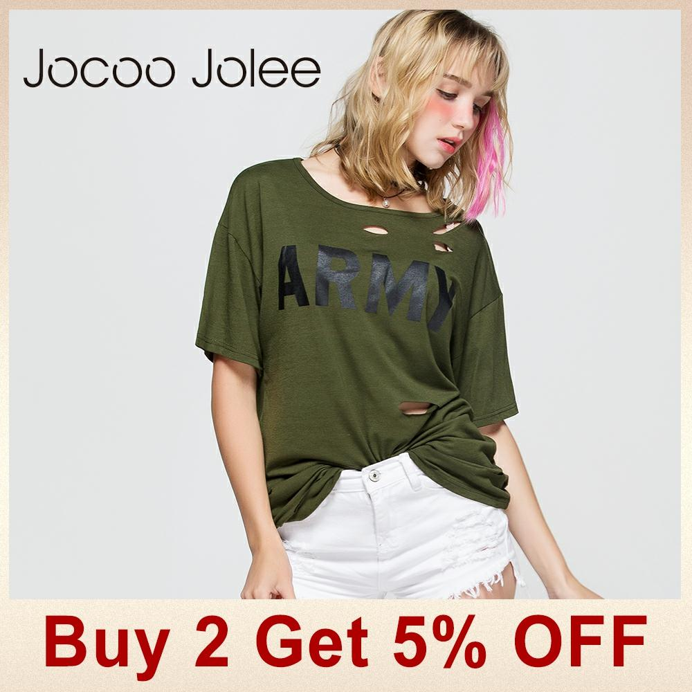 Jocoo Jolee Solid Pierced Hole T-shirt- ի Կանանց - Կանացի հագուստ - Լուսանկար 2
