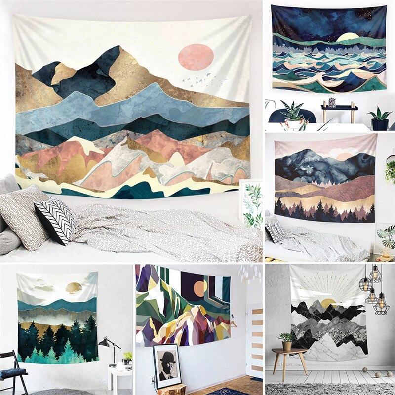 Mandala Wave Tapestry Wall Hanging Decor Cover Beach Blanket Camping Travel Mat