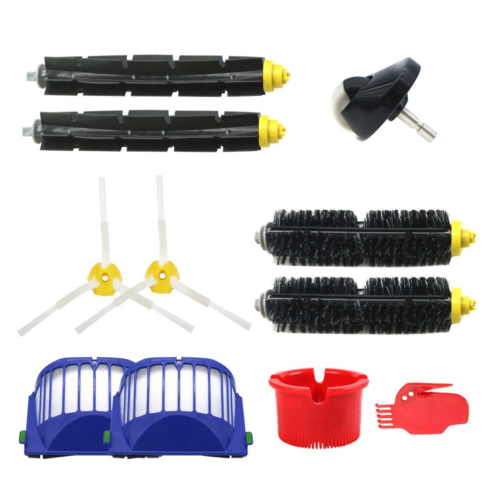 2 Blue AeroVac Filter+2 Set Main Brush Kit+6side Brush For IRobot Roomba 600 Series 620 630 650 660 Accessory Replacment