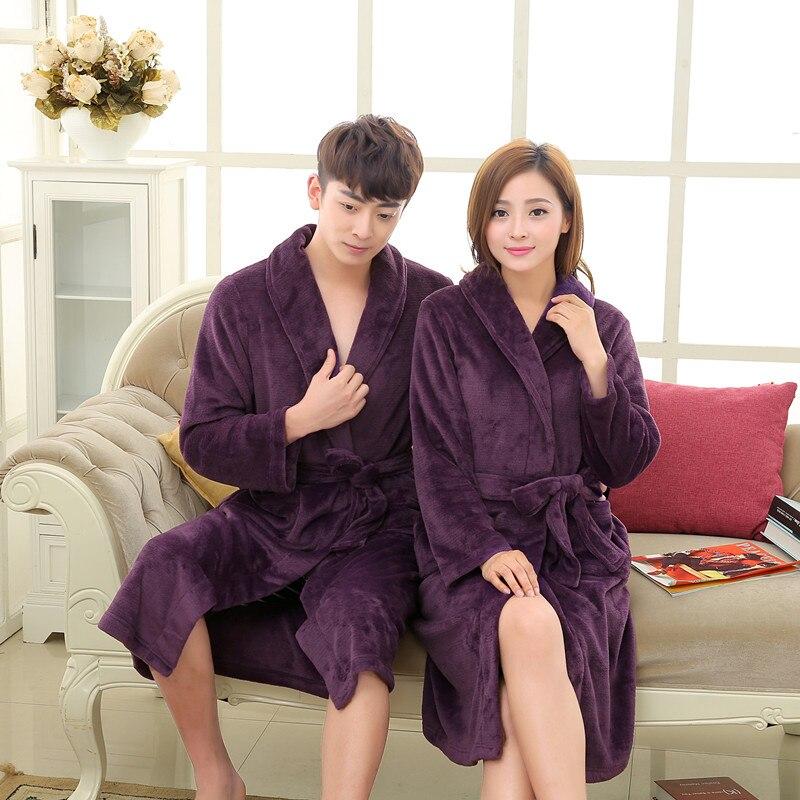 Navy Coral Kaftans Unisex Men Women Solid Lightness Full Sleeve Flannel Fleece Sleep Lounge Robes Lover Bathrobe Pink Robe Dress