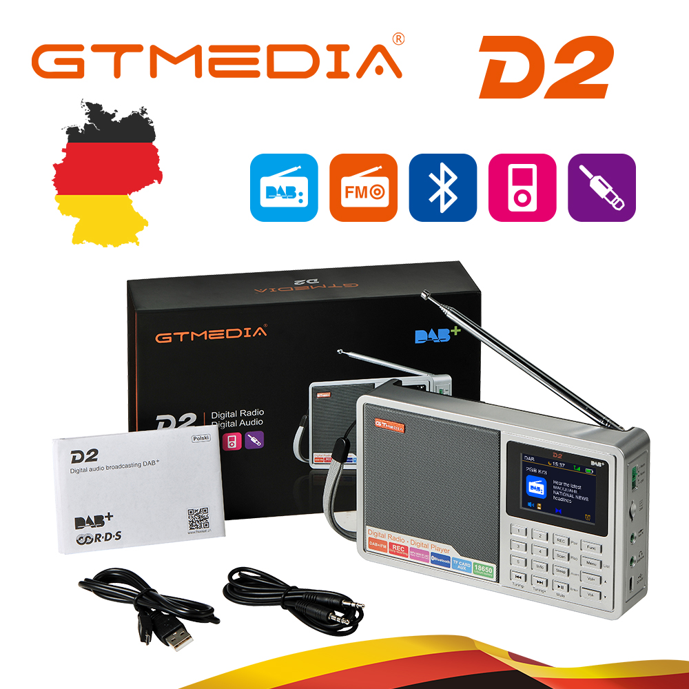 GTMEDIA D2 Bluetooth Battery Powered Portable <font><b>Radio</b></font> Multi Band LCD Display Stereo MP3 Music Player Clock Alarm FM <font><b>Radio</b></font> AUX USB image