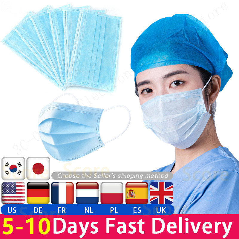 Fast Delivery Hot Sale 3-layer Mask 1 50pcs Face Mouth Masks Non Woven Disposable Anti-Dust Meltblown Cloth Masks Earloops Masks