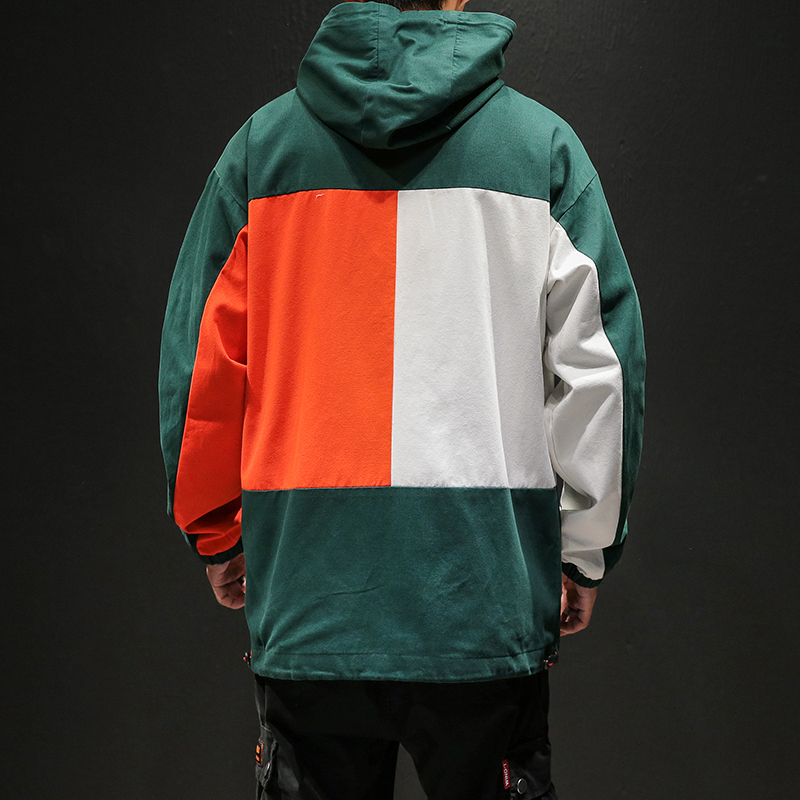 Designer Patchwork Hooded Jacket for Men 2020 Autumn Fashion Clothing Plus Size Hiking Outerwear Harajuku Streetwear Windbreaker 2