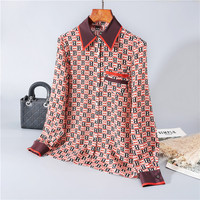 Spring 2020 for European and American women's wear Fashionable monogrammed silk shirt Long sleeve lapel