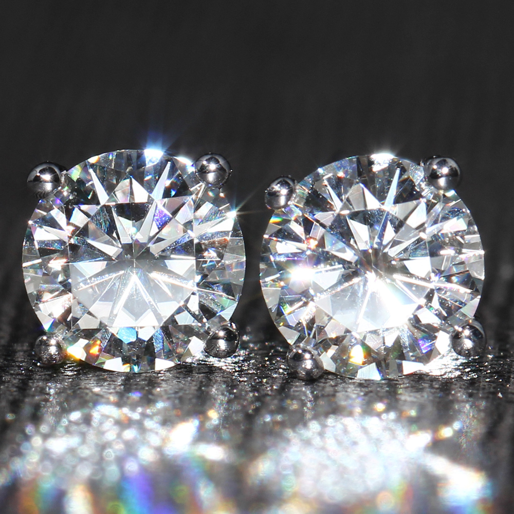 Real 925 Sterling Silver Stud Earrings Classic 6-8mm Round Created Moissanite Earrings For Women Wedding Jewelry Female