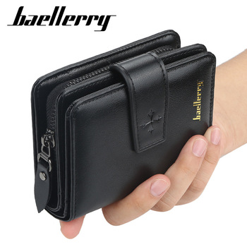 New Business Men Wallets Zipper Card Holder High Quality Male Purse New PU Leather Vintage Coin Holder Men Wallets 1