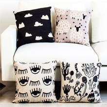 Nordic Simple Pillow Cover Black And White Cloud Geometry Printing Cushion Home Bedside Sofa Art Decor Pillowcase 45*45