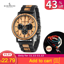 Watches Mens Chronograph Hands Wood Bobo Bird Stainless-Steel P09 Luminous