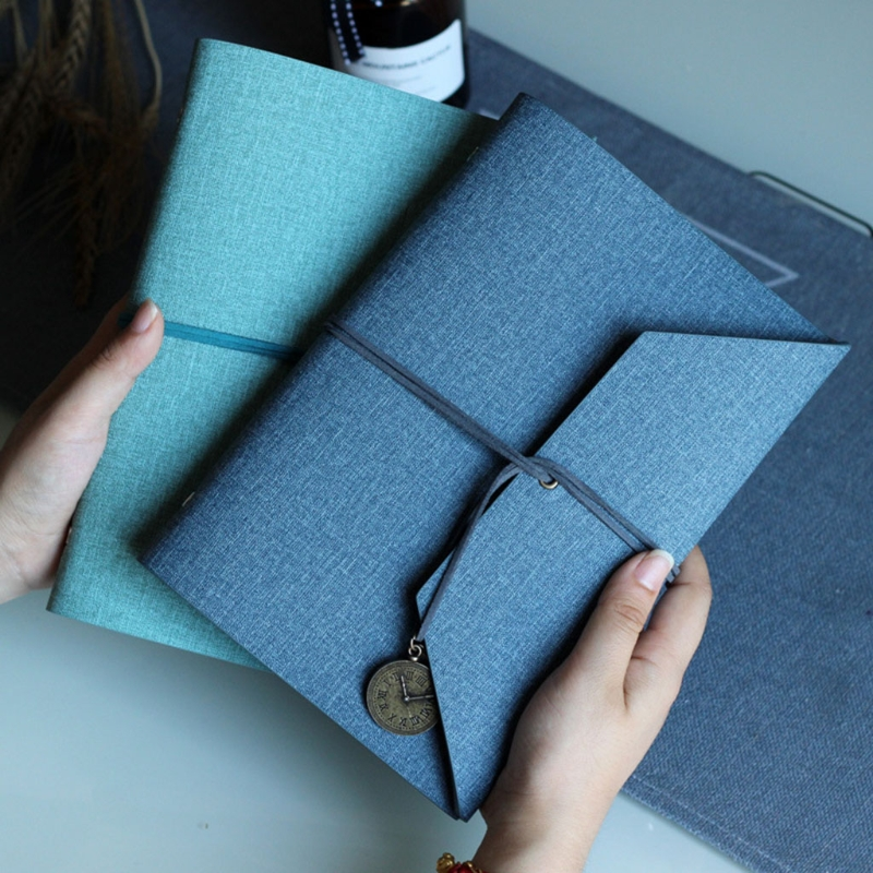 Creative PU Leather Cover Loose-leaf Tri-fold Notebook A5 Travel Handbook for Dairy Travel Office