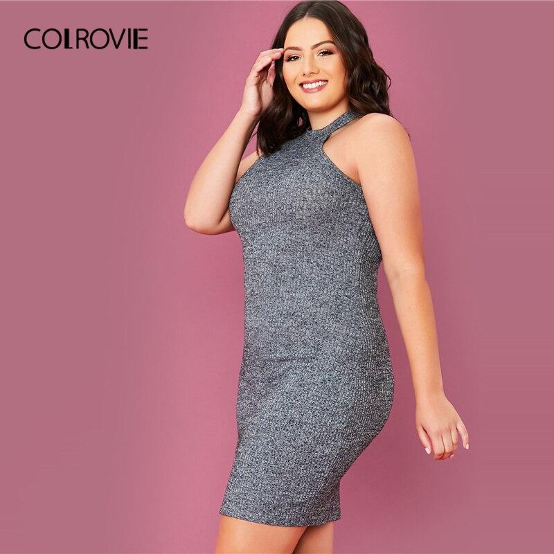 COLROVIE Plus Size Solid Rib-knit Halter Bodycon Dress Women Sleeveless Sexy Mini Dress 2020 Summer High Stretch Grey Dresses 2