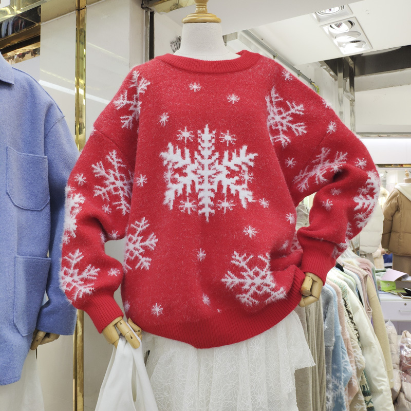 Knitted Sweaters Pullover Christmas-Gift Snowflake-Print Long-Sleeve Winter Casual Women