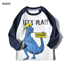 Promotion Kids T-shirts Print Civet cat vacation pattern Long sleeves Children boys t-shirts clothing cotton 100%