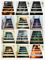 %Forest witch ghost hand zombie castle owl haunted house halloween creative 3d stair stickers decoration vinyl pvc wall stickers