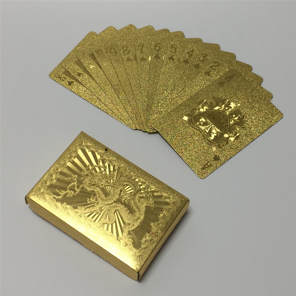 Durable Waterproof Gold Foil Plated Playing Cards Set 54pcs Deck Poker Classic Magic Tricks Tool Magic Box-packed High Quality
