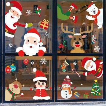 2020 pegatinas de Navidad de ventana adornos navideños para el hogar pegatinas de cristal para pared Año nuevo etiquetas decoración para el hogar Navidad