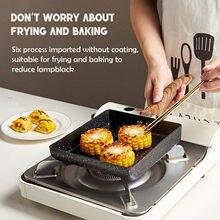 Frigideira tamagoyaki omelete preto antiaderente pan fritar ovo pan pancake panela de cozinha só uso para fogão a gás panelas de cozimento
