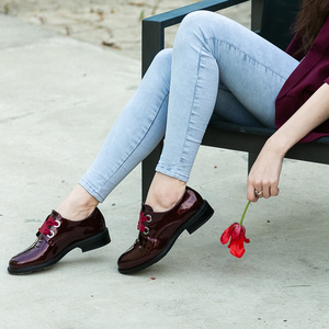 Image 4 - Zapatos planos de cuero para mujer, mocasines de charol a la moda, negros, informales, Oxford, para oficina, elegante, Otoño, 2020
