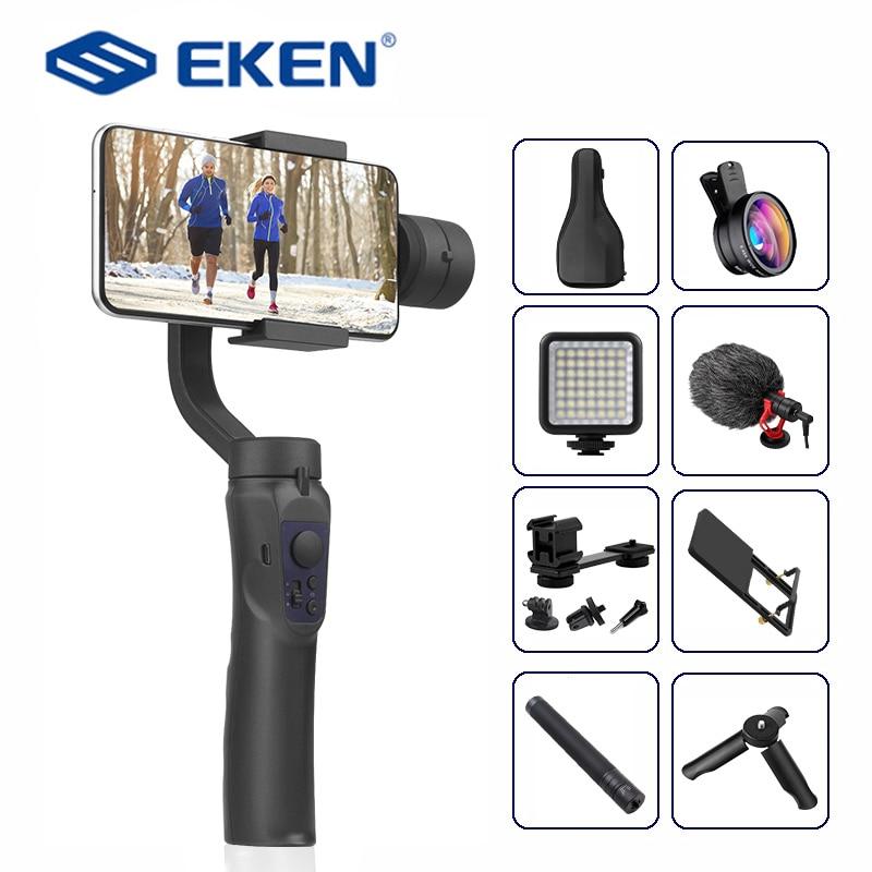 Eken h4 3 eixos handheld estabilizador celular gravação de vídeo smartphone cardan para câmera ação telefone