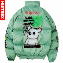 2020 Hip Hop Jacke Parka Spray Farbe Graffiti Streetwear Männer Windjacke Harajuku Winter Padded Jacke Mantel Warme Outwear Bär(China)