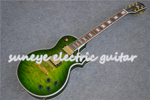 Green Quilted Finish Electric Guitar China DIY Guitar Kit Left Handed Guitar Custom Available Pearl Inlay Rosewood Fretboard suneye bungurdant guitar electric pearl inlaid rosewood fretboard left handed guitar custom available
