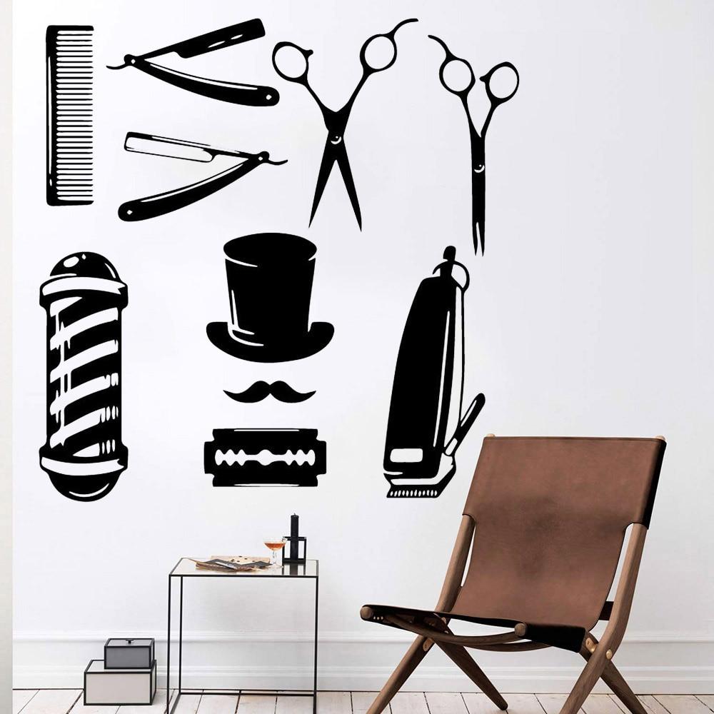 Barber Shop Vinyl Wall Sticker Hair Cut Tools Hairdresser Art Wall Decal Home Decor Bathroom Modern Shop Window Wallpaper Y633