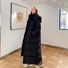 Down Parka Coat Extra Maxi Long Winter Jacket Women X Long Hood Big Large Plus Size Female Lady Overcoat Outerwear Clothes Black